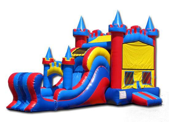 Inflatable bouncy castle slide