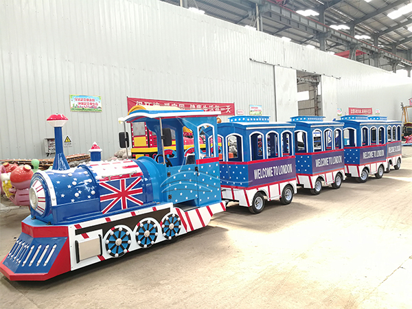 Customized Blue Trackless Train for Sale